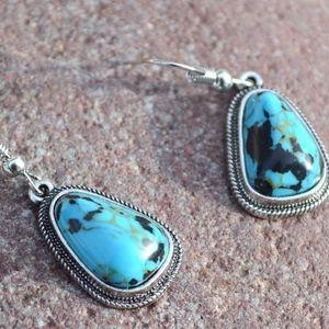 Jewelry - Blue Turquoise Southwestern Earrings Drop Dangle